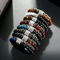 Fashion Natural Map Tiger Eye Stone Bead Stainless Steel Mens Bracelets Jewelry