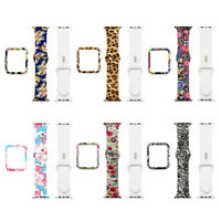 Leopard Sport Silicone Watch Band Strap Case Cover for Apple Watch Series 4/3/2