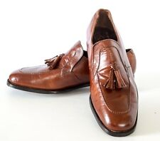 Vintage brown FLORSHEIM IMPERIAL Leather Tassel Loafers Shoes Size 8D NOS