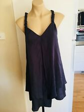 Ladies Dark Blue BEBE SYDNEY Dress Size 10 Loose Fit Silver Chain Short Summer