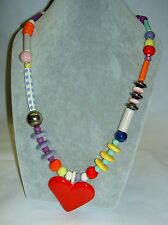 Vintage Unusual RUBY Z CANDACE LOHEED Ceramic Colorful Beads Red Heart Necklace