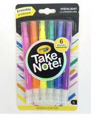 Crayola Take Note Erasable Highlighters School Art Supplies 6 Colors New
