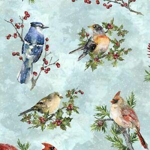 Christmas Fabric - Digital Winter Wonder Snowbirds on Blue - Hoffman YARD