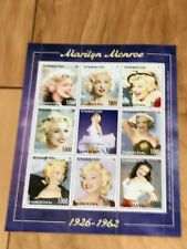 Marilyn Monroe Sheet of 9 Portraits of a Star Stamps with COA