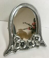 """Oval Mirror w Frame in Antique Pewter Finish 10"""""""