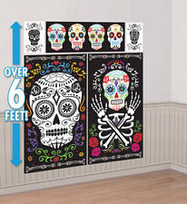 DAY OF THE DEAD Scene Setter Halloween party wall decoration kit over 5' skulls