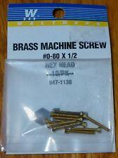 "Walthers #947-1136 / 0-80 Brass Hex Head Machine Screws -- 1/2 x .060"" 1.27 x .1"