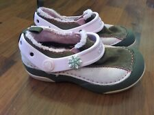 Girls Size 11 Child Crocs Pink Brown Leather Rubber Faux Fur Lined Low Top Shoes