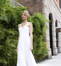 $428 BCBG Michaella Off-White Strapless Wedding Satin Fluted Gown Dress SZ 0 XXS