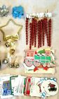Christmas LOT Red Spiral Ornaments Gift Tags Sleigh Bells etc Misc Holiday Decor