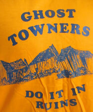 NEW DS LARGE True Vtg 70s HANES WEIRD GHOST TOWN GRAPHIC GOLD T-shirt USA