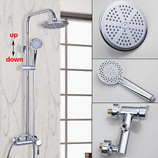 Rainfall Shower Faucet Thermostatic Bathing Head Mixer W/ Hand Chrome Tap Unit