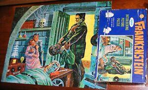 Vtg 1960s JAYMAR Universal FRANKENSTEIN/WOLF MAN Jigsaw Pieces Puzzle w/Box 100%