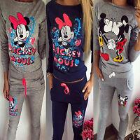 2PCS Womens Mickey Minnie Mouse Tracksuit Sweatshirt Tops Pants Sportwear Suits