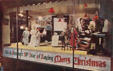 Christmas Eve at Granny's BREUNER'S Store Window Display c1950s Vintage Postcard