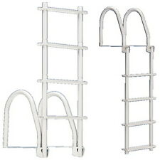 4 Step White Galvalume Fold Up Dock Ladder - 400 lb Weight Capacity