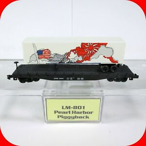 N Scale WWII PEARL HARBOR Piggyback Trailer Flat Car, Atlas, Loco-Motives LM-801