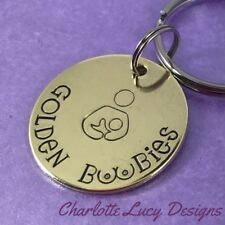 Golden boobies breastfeeding award keyring awareness hand stamped new mummy gift