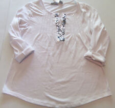 KATIE'S KLOSET WOMEN'S SHIRT TOP WHITE SEQUENCE 3/4 LENGHT SLEEVES SIZE SMALL