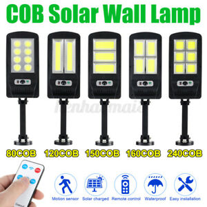 600W LED Solar Street Wall Light PIR Motion Sensor Outdoor Lamp + Control