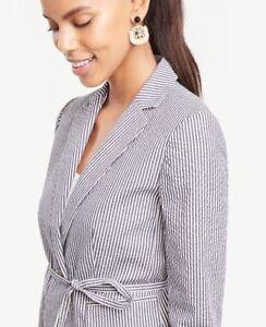 Ann Taylor Petite 00P (XXSP) Blue Seersucker Side Tie Blazer Jacket $159 NWT (H)