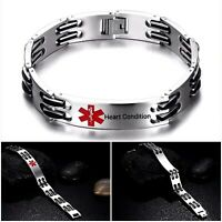 Heart Condition Angina Medical Alert Bracelet Stainless Steel Chain Curb Silver