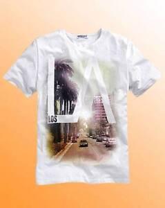 Mens Cool T-Shirt LA Los Angeles Print Top Jacamo Label J Size M White New