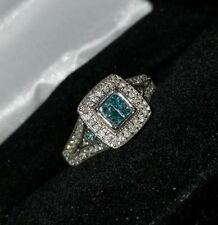 $1389-Kay Jewelers 10k White gold 1/2cttw fancy Blue Diamond Engagement ring