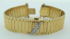 Marked 14k Diamonds Vintage Ladies Bracelet Watch with Spring Closing Cover
