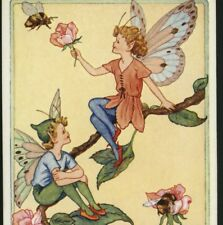 """ROSEBUD FAIRIES"" FAIRY HOLDS BLOSSOM FOR BUMBLE BEE,GLADYS CHECKLEY,POSTCARD"