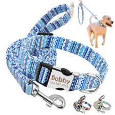 Personalized Nylon Dog Collar and Lead Leash Pet ID Name Tag Engraved Free S M L