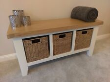 White Painted Oak Hall Bench / Monks Hallway Seat / Porch Shoe Storage Cabinet