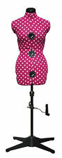 Cerise Polka Dot 8-Part Adjustable Dressmaking Dummy UK 10-16 Adjustoform 5905A