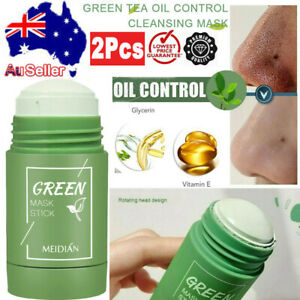 2X Green Tea Purifying Clay Stick Mask Oil Control Anti-Acne Eggplant Solid Fine