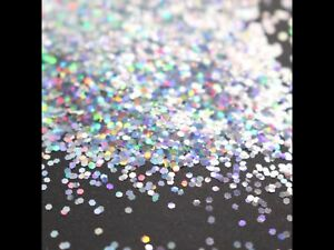 Nail Art Glitter 1mm Laser Hexagon Silver Holographic Sparkly Spangles - 4g Bag