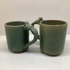 New listing (2) Green frog mugs Hand Crafted made in Indonesia
