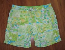 Men's stuff LILLY PULITZER Green Lined Surfer Swim Trunks Board Shorts size 40