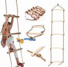 Wooden Rungs Kids Climbing Rope Ladder For Garden Outdoor Tree Swing Frames