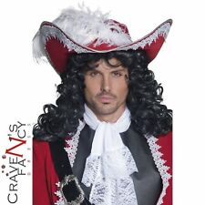 Adult Authentic Pirate Hat Captain Red Hook Mens Fancy Dress Stag Buccaneer