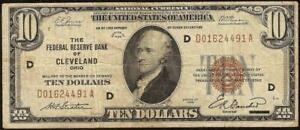 1929 $10 DOLLAR BILL BROWN SEAL FED BANK NOTE OLD PAPER MONEY NATIONAL CURRENCY