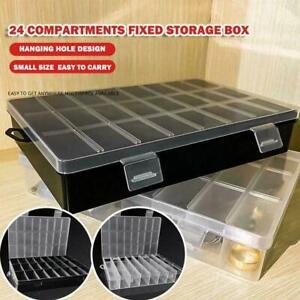 24 Grid Compartment Plastic Organizer Container Storage Jewelry Box Case H9D4