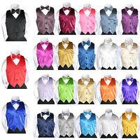 23 Color Satin Bow tie Vest Set (2pc) Baby Boy Toddler 4 Tuxedo Suit Sm-7 New