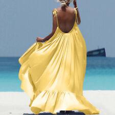 Women Boho Maxi Solid Sleeveless Long Backless Dress Evening Beach Dress DA