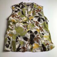 Nic + Zoe Women's Sleeveless Button Up Blouse Top 14 P Petite Multicolor Floral