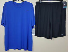 Nike Dri-Fit Training Outfit Shirt + Shorts Royal Blue Black Rare New (Size 4Xl)