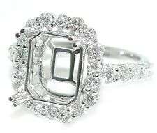 1.5 CT Oval Halo for Emerald Cut DIAMOND Engagement Ring Setting 18K White Gold