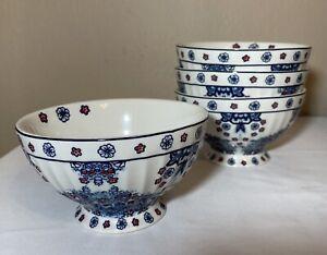 Set of 4 Grace Ceramic Cafe Au Lait Bowls Blue & Red Florals
