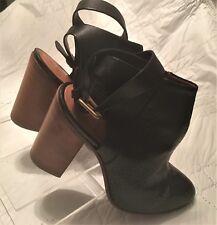 Buttero Ladies Platform High Block Open Heel Boots in Black Leather - Size 7 US