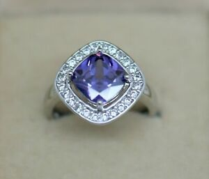 Cushion Cut 2.13 CT Amethyst & Diamond Wedding Pretty 14K White Gold Over Ring