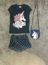 Girls Clothes Bundle BlueZoo Unicorn T-shirt & Bag, Jasper Conran Shorts Age 5-6